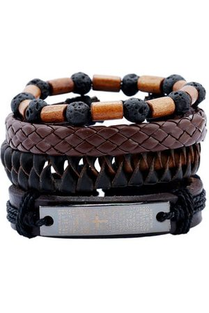 Newchic Wood Lave Beaded Leather Bracelets