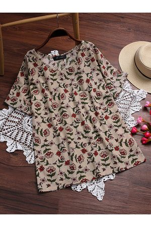 Newchic Vintage Floral Printed Short Sleeve Blouse