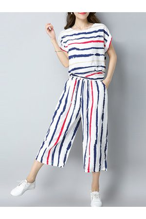 Newchic Stripes Casual Short Sleeve Blouse Two Pieces