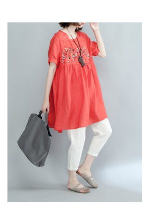 Newchic Casual Flower Embroidery Short Sleeve Blouse
