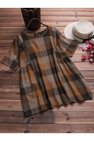 Newchic Plaid Short Sleeve O-neck Cotton Casual Blouse