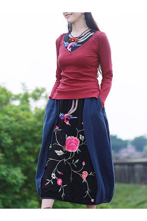 Newchic Ethnic Style Embroidery A-Line Skirts