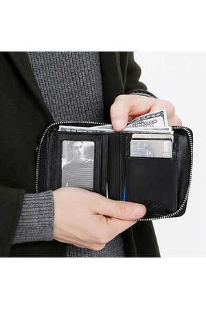 Newchic Genuine Leather Business Zipper Shot Wallet For Men