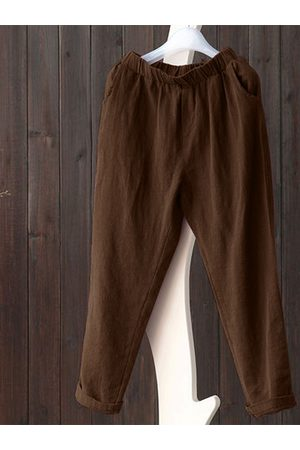 Newchic Vintage Coffee Pure Color Pants