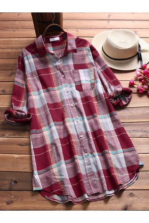 Newchic Casual Plaid Pocket Long Sleeve Shirt