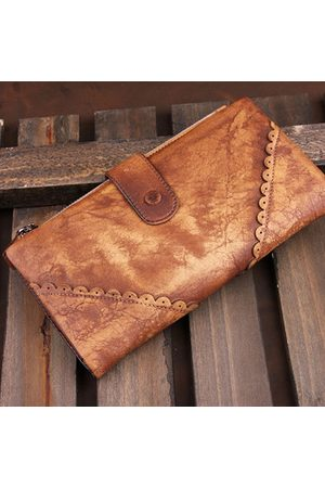 Newchic Brenice Cowhide Long Wallets Vintage Hollow Out Hasp Purse