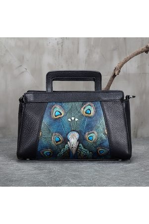 Newchic Brenice Embroidery Peacock Handbags Genuine Leather Bags