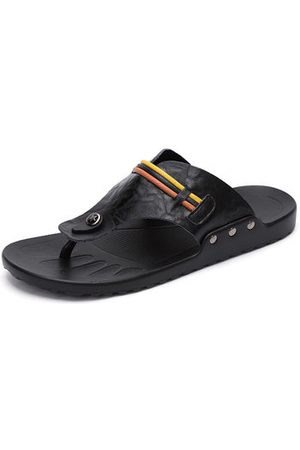 Newchic Men Cow Leather Clip Toe Casual Slippers