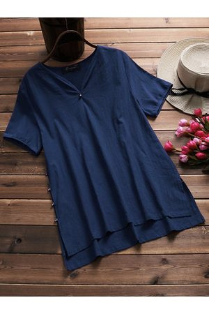Newchic Casual Pure Color Short Sleeve Blouse