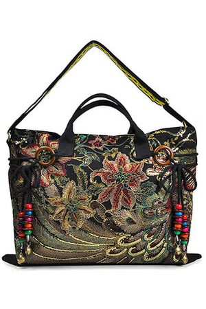 Newchic Brenice Peacock Canvas Tote Handbags Chinese Shoulder Bags
