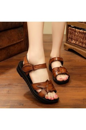 Newchic Leather Hook Loop Comfy Sandals