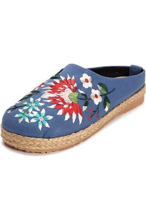 Newchic Women Flip Flops - Embroidered Floral Backless Slipper