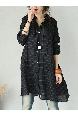 Newchic Casual Striped Long Sleeve Lapel Loose Shirt