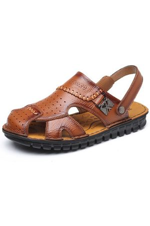 Newchic Men Breathable Cow Leather Hand Stitching Casual Sandals