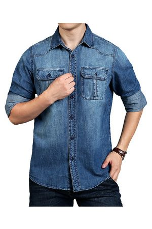 Newchic Men Denim - Loose Work Denim Shirts