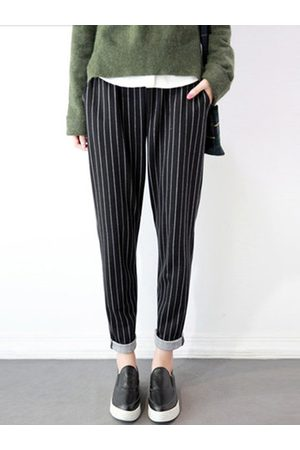 Newchic Women Capris - Casual Striped Elastic Waist Pockets Pants