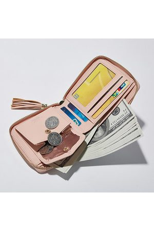 Newchic Women Concise PU Bifold Solid Short Wallet 3 Card Slot