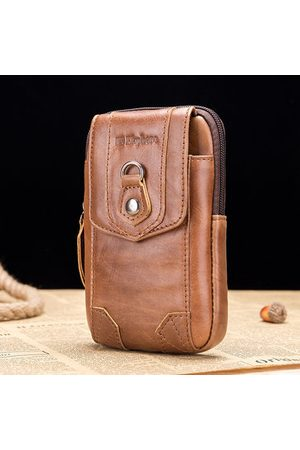 Newchic Men Belts - Ekphero Vintage Waist Bags Genuine Leather Belt Phone Pouch