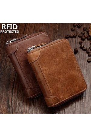 Newchic Men RFID Antimagnetic Genuine Leather Zipper Trifold Wallet