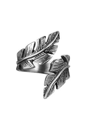 Newchic Men Rings - Stainless Steel Feather Ring