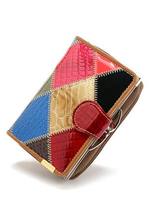 Newchic Qianxilu Patchwork Genuine Leather Casual Wallet
