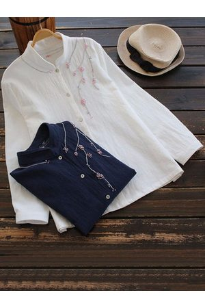 Newchic Women Long sleeves - Vintage Embroidery Flower Button Long Sleeve Shirt