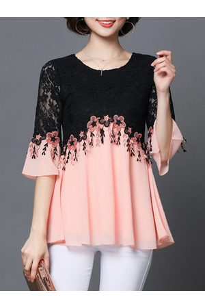 Newchic Women Blouses - Lace Patchwork Embroidery Elegant Women Shirts