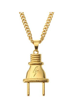 Newchic Hip Hop Lightning Plug Tag Necklace