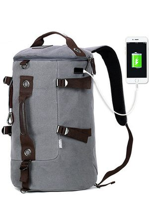 Newchic Canvas Large Capacity USB Charging Port Backpack Travel Bag