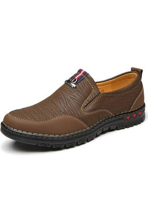 Newchic Men Microfiber Leather Soft Sole Slip On Casual Shoes