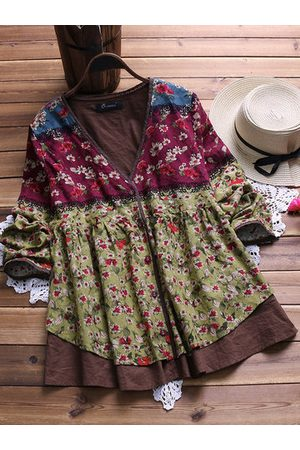 Newchic Vintage Floral Patchwork Fake Two-Piece Shirt