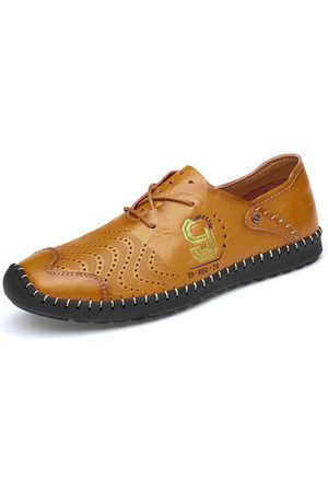 Newchic Men Soft Cow Leather Hand Stitching Non-slip Casual Shoes