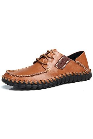 Newchic Men Soft Hand Stitching Cow Leather Lace Up Casual Shoes