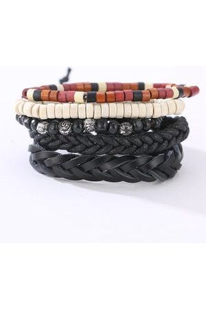 Newchic Men Bracelets & Bangles - Wood Beaded Leather Bracelet