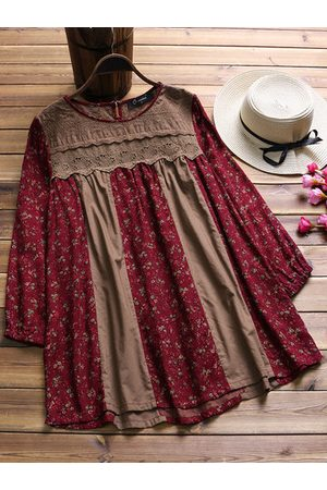 Newchic Vintage Floral Printed Patchwork Long Sleeve Blousese