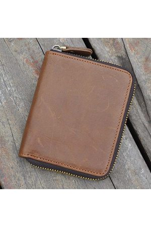 Newchic Men Bags - Vintage Genuine Leather Coin Bag Trifold Wallet For Men