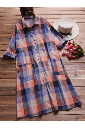 Newchic Women Long sleeves - Casual Plaid Pockets Lapel Long Sleeve Shirt