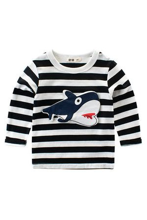 Newchic Boy Striped Shark Patchwork Sweatshirt