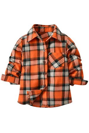 Newchic Boys Tops - Cotton Boys Plaid Shirts