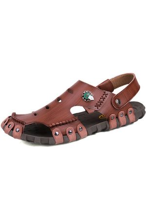 Newchic Men Sandals - Men Stitching Hole Breathable Soft Non-slip Outdoor Leather Waterproof Sandals
