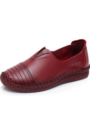 Newchic Cow Leather Soft Flat Shoes