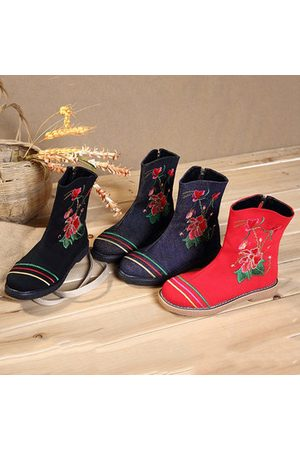 Newchic Women Boots - Flower Embroidery Retro Boots