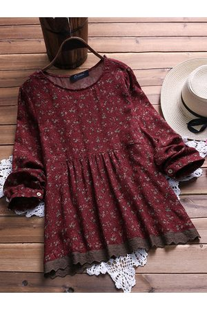 Newchic Women Shirts - Floral Printed Stitching Lace Shirts