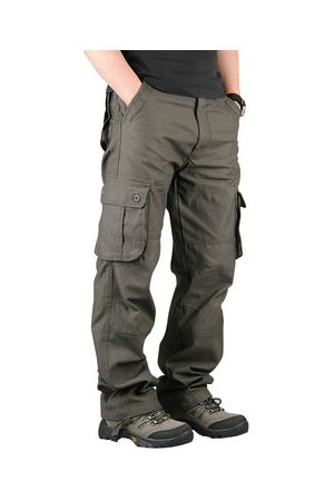 Newchic Men Cargo Pants - Men's Extra Large Multi Pockets Outdoor Cargo Pants Casual Loose Cotton Trousers