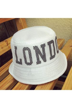Newchic Fashion Women London Letter Embroidery Mesh Bucket Hat Casual Travel Visor Flat Hat Fishing Caps