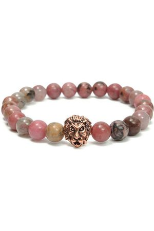 Newchic Rose Gold Plated Lion Head Pink Black Rhodonite Men Bracelet