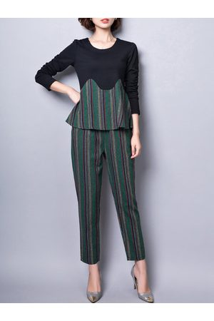 Newchic Women Shirts - Striped Stitching Shirt Two-piece Outfits