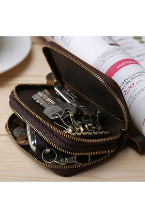 Newchic Men Bags - Vintage Genuine Leather Double Layers Key Bag Car Key Pouch