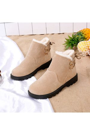 Newchic Lace Up Warm Fur Flat Boots