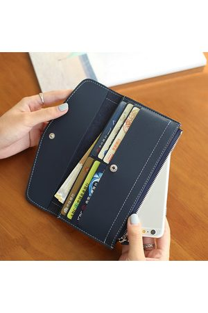 Newchic Women Wallets - Women Vintage Pure Color Wallet Card Holder Long Purses 5.5inch Phone Bags